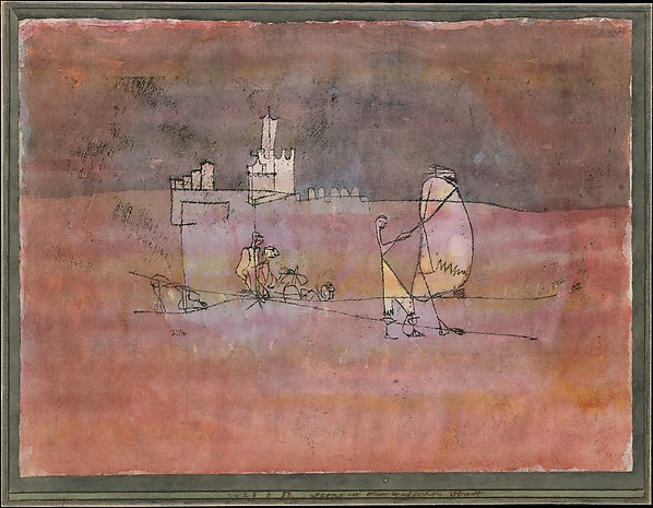 Episode Before an Arab Town, Paul Klee (German (born Switzerland), Münchenbuchsee 1879–1940 Muralto-Locarno), Watercolor and transferred printing ink on paper, bordered with gouache and ink, mounted on cardboard
