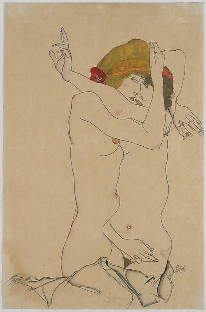 Two Women Embracing, Egon Schiele (Austrian, Tulln 1890–1918 Vienna), Gouache, watercolor, and graphite on paper