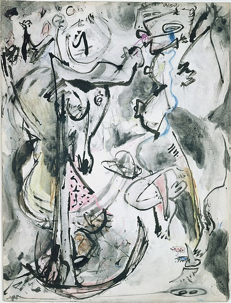Untitled, Jackson Pollock (American, Cody, Wyoming 1912–1956 East Hampton, New York), Ink, colored pencils, and watercolor pencils on paper board