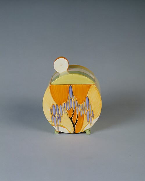 """""""Bizarre"""" Jam Pot with Cover, Clarice Cliff (British, 1899–1972), Earthenware"""