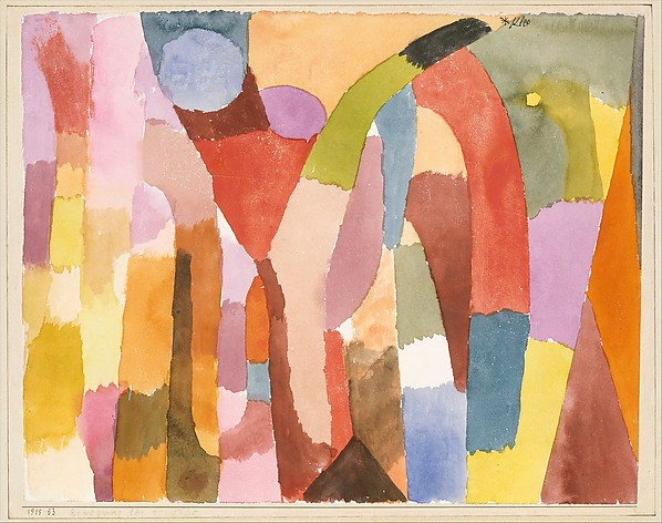 Movement of Vaulted Chambers, Paul Klee (German (born Switzerland), Münchenbuchsee 1879–1940 Muralto-Locarno), Watercolor on paper mounted on cardboard