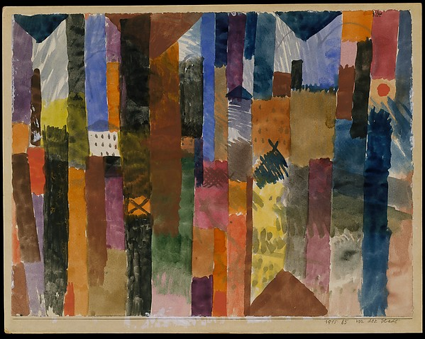 Before the Town, Paul Klee (German (born Switzerland), Münchenbuchsee 1879–1940 Muralto-Locarno), Watercolor on paper mounted on cardboard