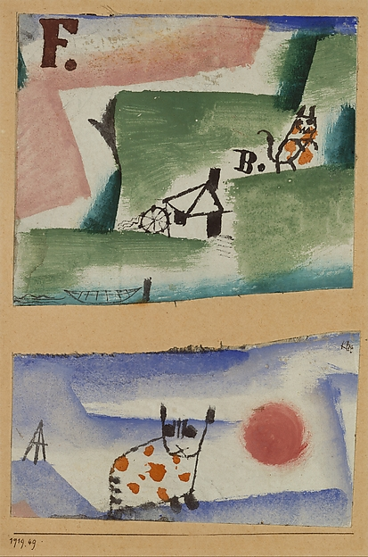 Tomcat's Turf, Paul Klee (German (born Switzerland), Münchenbuchsee 1879–1940 Muralto-Locarno), Watercolor, gouache, and oil on gesso on two sections of fabric mounted on cardboard