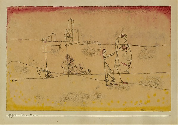 Episode at Kairouan, Paul Klee (German (born Switzerland), Münchenbuchsee 1879–1940 Muralto-Locarno), Watercolor and transferred printing ink on paper mounted on cardboard