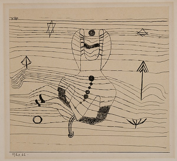 Rider Unhorsed and Bewitched, Paul Klee (German (born Switzerland), Münchenbuchsee 1879–1940 Muralto-Locarno), Ink on paper mounted on cardboard