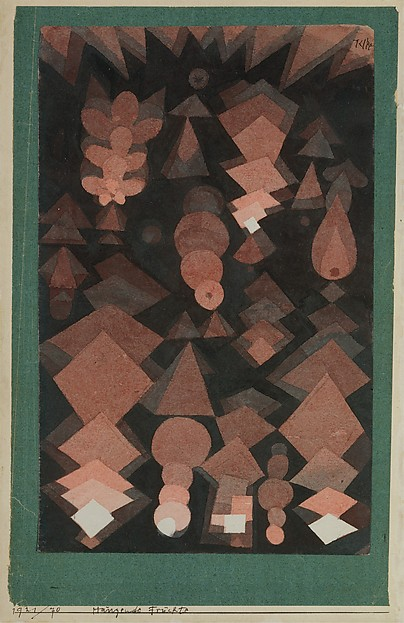 Suspended Fruit, Paul Klee (German (born Switzerland), Münchenbuchsee 1879–1940 Muralto-Locarno), Watercolor and graphite on paper mounted on green paper, mounted on cardboard