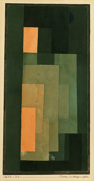 Tower in Orange and Green, Paul Klee (German (born Switzerland), Münchenbuchsee 1879–1940 Muralto-Locarno), Watercolor, ink, and graphite on paper, bordered with ink, mounted on cardboard