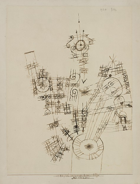 The Last Adventure of the Knight Errant, Paul Klee (German (born Switzerland), Münchenbuchsee 1879–1940 Muralto-Locarno), Ink on paper mounted on cardboard