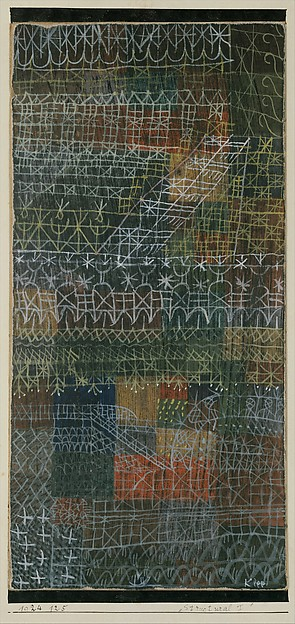 Structural I, Paul Klee (German (born Switzerland), Münchenbuchsee 1879–1940 Muralto-Locarno), Gouache on cardboard, bordered with ink, mounted on cardboard