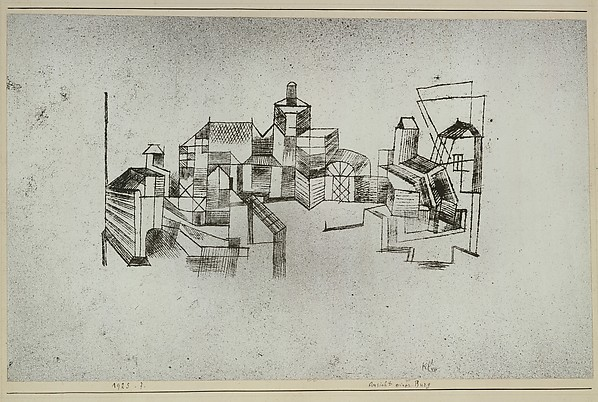 View of a Fortress, Paul Klee (German (born Switzerland), Münchenbuchsee 1879–1940 Muralto-Locarno), Sprayed watercolor and transferred printing ink on paper mounted on cardboard