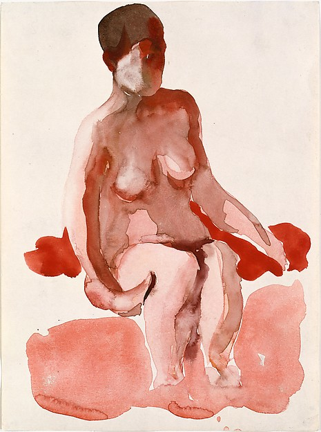 Seated Nude X, Georgia O'Keeffe (American, Sun Prairie, Wisconsin 1887–1986 Santa Fe, New Mexico), Watercolor on paper