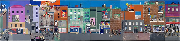 The Block, Romare Bearden (American, Charlotte, North Carolina 1911–1988 New York), Cut and pasted printed, colored and metallic papers, photostats, graphite, ink marker, gouache, watercolor, and ink on Masonite