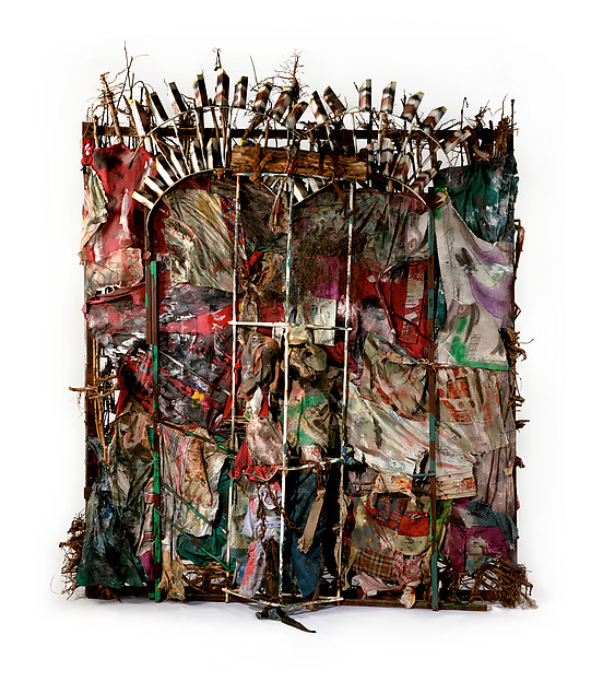 History Refused to Die, Thornton Dial (American, Emelle, Alabama 1928–2016 McCalla, Alabama), Okra stalks and roots, clothing, collaged drawings, tin, wire, steel, Masonite, steel chain, enamel, and spray paint