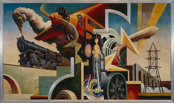 America Today, Thomas Hart Benton (American, Neosho, Missouri 1889–1975 Kansas City, Missouri), Ten panels: Egg tempera with oil glazing over Permalba on a gesso ground on linen mounted to wood panels with a honeycomb interior