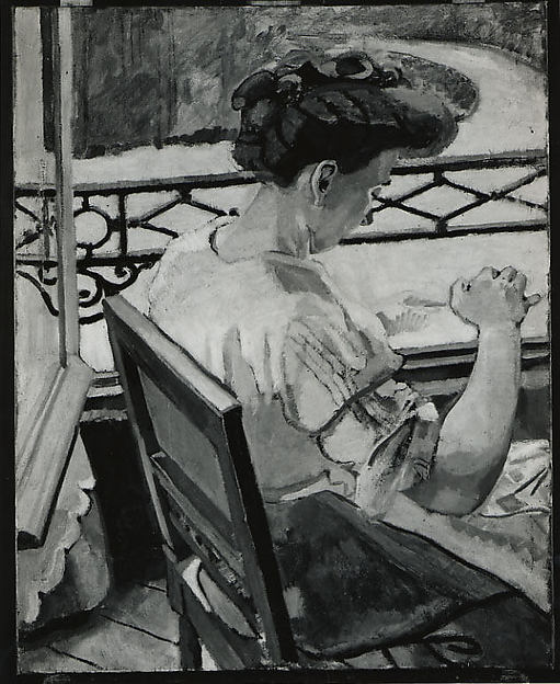 Helene Embroidering at the Window, Maurice Marinot (French, Troyes 1882–1960 Troyes), Oil on canvas