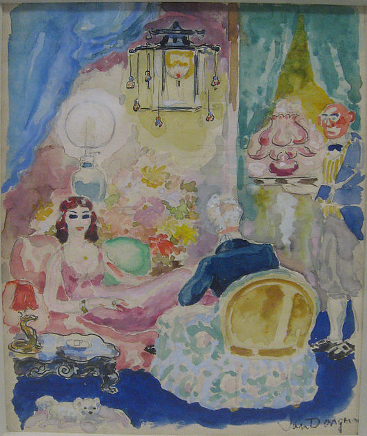 """""""Odette et Swann"""" Illustration to Proust's """"La Recherche du Temps Perdu"""", Kees van Dongen (French (born The Netherlands) 1877–1968), Gouache, watercolor, ink, and graphite on paper"""