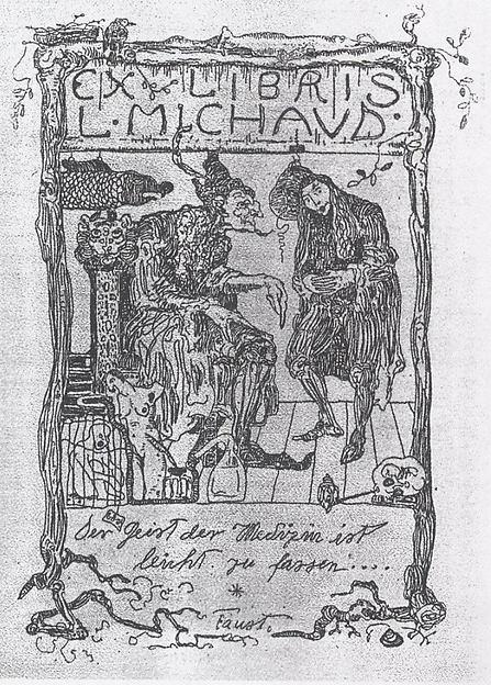 Ex Libris L. Michaud, Paul Klee (German (born Switzerland), Münchenbuchsee 1879–1940 Muralto-Locarno), Etching