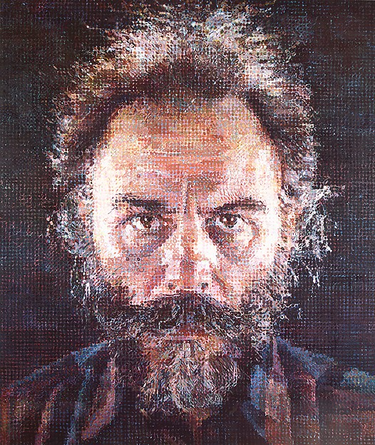 Lucas I, Chuck Close (American, born Monroe, Washington, 1940), Oil and graphite on canvas