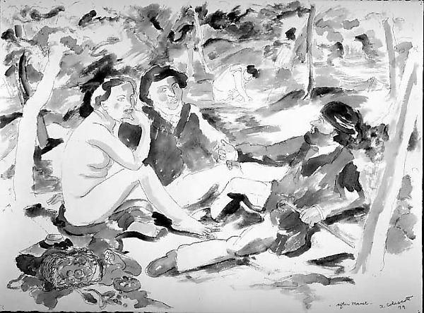 Dejeuner Sur L'herbe II, Robert Colescott (American, 1925–2009), Watercolor and graphite on paper