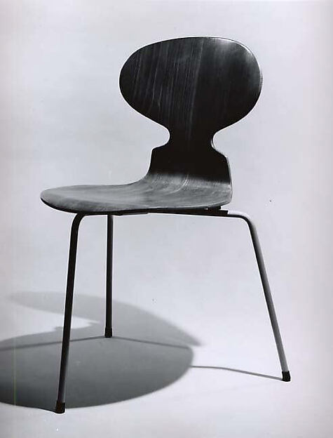 Side Chair, Arne Jacobsen (Danish, 1902–1971), Plywood, steel, rubber mounts, metalglides, vinyl