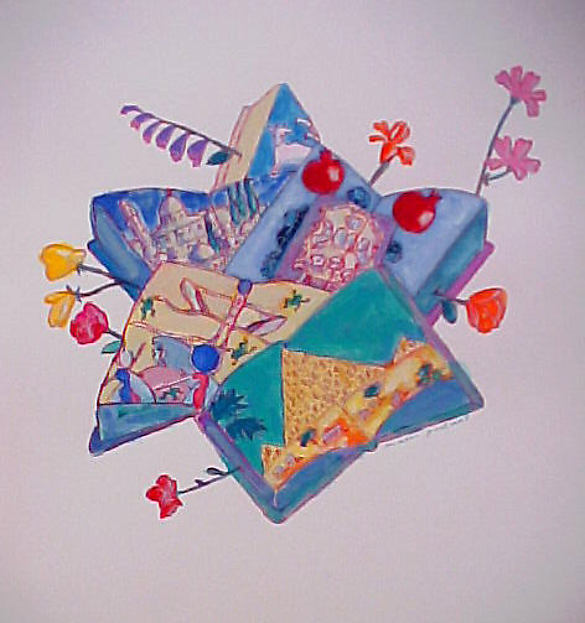 Seder, Mark Podwal (American, born 1945), Acrylic, gouache, and colored pencil on paper