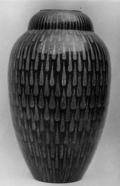 Vase, Jean Dunand (French (born Switzerland), Lancy 1877–1942 Paris), Brass, inlaid silver