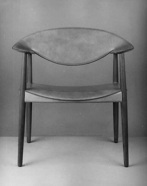 Armchair, Ejner Larsen (Danish, Copenhagen 1917–1987), Teak wood, ox-hide