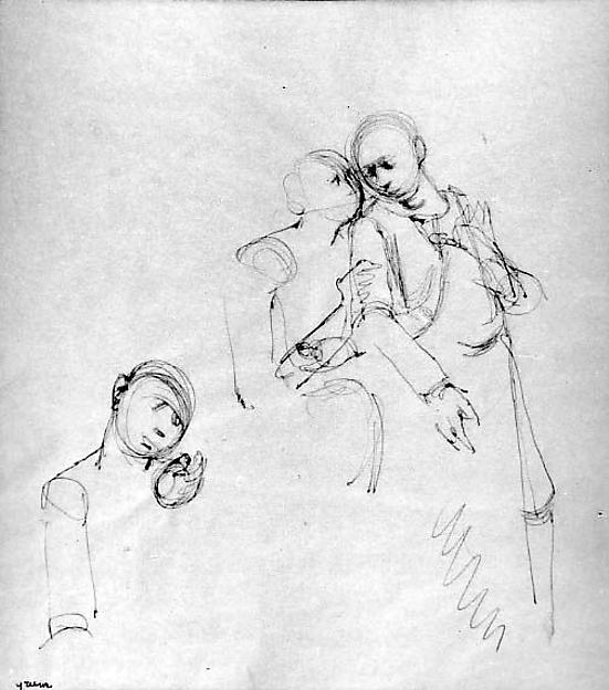 Study for The Judas Kiss: Christ and Judas, Stephen Greene (American, 1917–1999), Ink on tracing paper