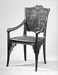 Arm chair, Lucien Lévy-Dhurmer (French, Algiers 1865–1953 Le Vésinet), Walnut, leather, brass