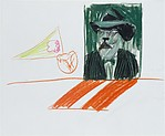 Henry as Poster, David Hockney (British, born Bradford, 1937), Colored crayons on paper