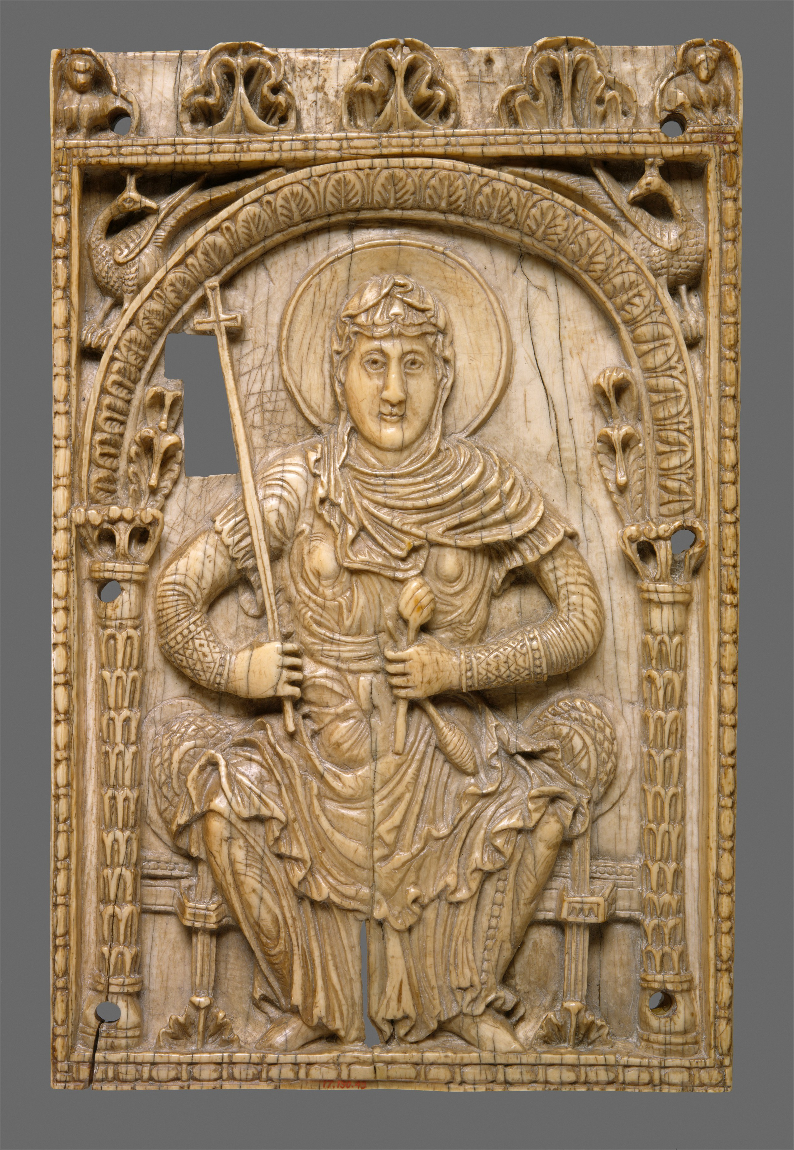 plaque with the virgin mary as a personification of the