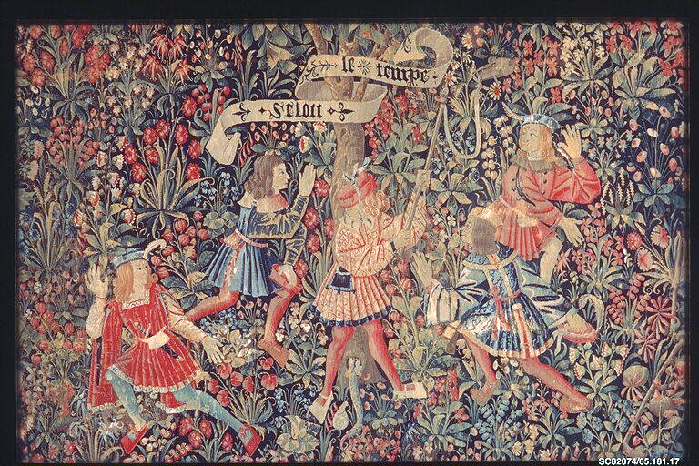 Tapestry depicting Five Youths Playing Blind Man's Buff