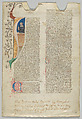 Manuscript Leaf, Tempera, ink, and gold on parchment, Italian