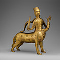 Aquamanile in the Form of a Crowned Centaur Fighting a Dragon, Copper alloy, German
