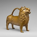 Aquamanile in the Form of a Lion, Copper alloy, glass inlays, North German