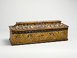 Coffret, Walnut, leather, gesso, painting, and gilding, Italian