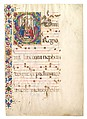 Manuscript Leaf with Saint John Gualbert in an Initial S, from an Antiphonary, Tempera, ink, and gold on parchment, Italian