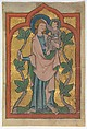 Manuscript Leaf with Saint Christopher Bearing Christ, Tempera and gold on parchment, German or Swiss