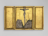 Triptych with the Way to Calvary, the Crucifixion, and the Disrobing of Jesus, Gilded copper, silver and paint, Netherlandish or French