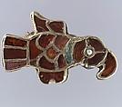 Bird-Shaped Brooch, Gold, garnet, glass, pearl, Frankish