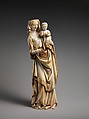 Virgin and Child, Ivory with traces of polychromy and gilding, (modern wooden base), French