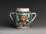 Two-Handled Jar with Lions' Heads, Tin-glazed earthenware , Italian