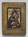 Portable Icon with the Virgin Eleousa, Miniature mosaic set in wax on wood panel, with gold, multicolored stones, and gilded copper, Byzantine