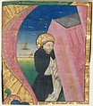 Manuscript Illumination with Saint Dominic Saving the Church of Saint John Lateran in an Initial A, from a Gradual, Tempera, ink, and gold on parchment, Italian