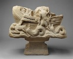 Table Base with Jonah Swallowed and Cast Up by the Big Fish, Marble, white, Roman