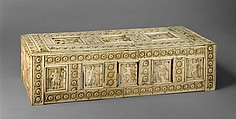 Casket with Warriors and Mythological Figures, Bone plaques and ornamental strips over wood; silver lock plate, Byzantine