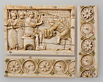 Plaque with Scenes from the Story of Joshua, Ivory, traces of polychromy, gilding; bone (border strips), Byzantine