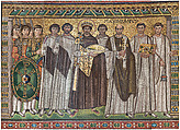 Emperor Justinian and Members of His Court, Glass and stone Tesserae, Byzantine