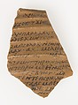 Ostrakon from the Brethren (?) to John, Pottery fragment with ink inscription, Coptic