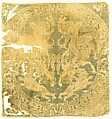 Roundel with Amazons and a Cross, Weft-faced compound twill (samit) in green, beige, and brownish silk, Byzantine